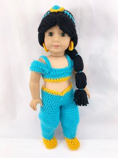 This is a PDF Pattern to crochet a Princess outfit for your favorite 18 Crochet Doll Clothes, Girl Doll Clothes, Crochet Dolls, Girl Dolls, Crochet Baby, Ag Dolls, Girl Clothing, Barbie Clothes, Free Crochet
