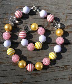 Pink Lemonade/Yellow Chunky Bubblegum Necklace Set