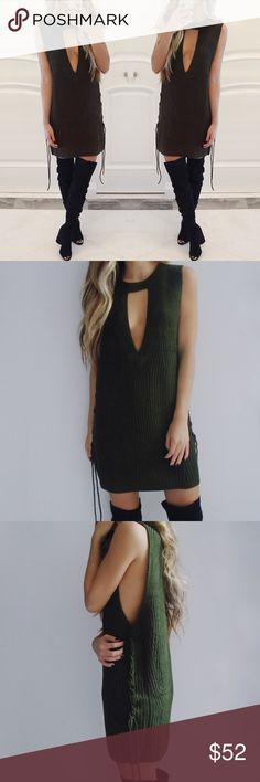 • Cassandra Sleeveless Knit Dress Olive green sleeveless knit/sweater dress with side detailing. Super stylish and comfy! 100% Acrylic. *Modeling size S/M*  ☑️ NO trades. Price is FIRM unless bundled. ☑️ Sizes Available: S/M & M/L. Dresses