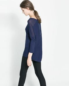 ZARA - WOMAN - T-SHIRT WITH ZIP AT THE BACK