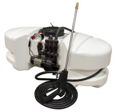 """15 Gallon Spot Sprayer with a 12 Volt, 2.1 G.P.M. Pump and Pressure Gauge by Fimco Industries. $199.50. Fimco model LG-14-SM sprayer - Deluxe Style. Fimco Gold Series 12 Volt (Demand) Diaphragm Pump. 2.1 GPM @ 60 PSI. Many uses including applying insecticides and herbicides - Ready for Roundup. 15 Gallon Corrosion Resistant Polyethylene Tank. Lower Tank Profile For Improved Stability  -  Large Hose Wrap Horns For Hose Storage  -  5"""" Fill Lid With Tether  -  Both Gallon & ..."""