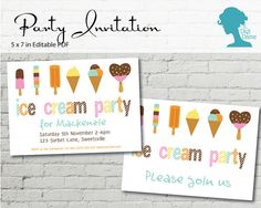 Digital Party Printable Invitation: Ice Cream Party by digidame