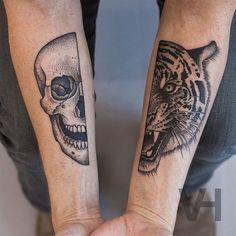 skull and tiger tatto