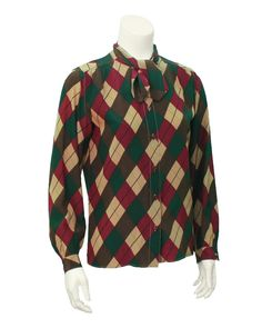 Argyle silk blouse