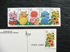 Flower Gardens unused Vintage Postage Stamps