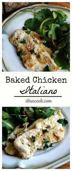 Baked Chicken Italiano; this really wasn't the greatest, but the kids liked it, so I have to keep it! Added spinach last 5 min of baking and topped with fresh diced tomatoes.