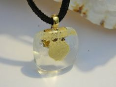 Fused Glass Gold dust Pendant Necklace by uniquenique on Etsy, $22.00