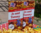 Personalized Cracker Jack Boxes for your wedding, includes your team and your names! Perfect for baseball themed weddings, rehearsal dinners and more!