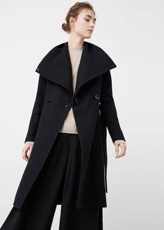 Wide lapel wool-blend coat -  Woman   MANGO USA