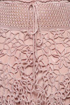 Saia Midi Crochet Velvet Madrepérola - Vanessa Mon - vanessamontoro