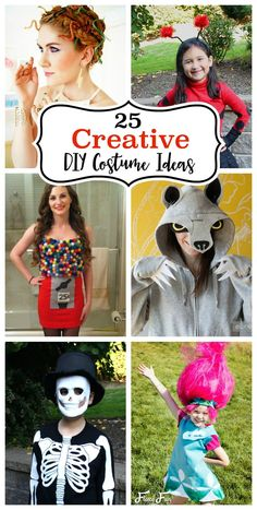 Clever and Fun DIY Costumes to Make including a gumball machine, skeleton, lady bug, Medusa and many more! costumes | diy | halloween | dress up