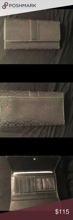 Coach Signature Wallet Coach signature canvas tri-fold wallet  black Coach Bags Wallets
