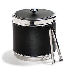 Metal Ice Buckets | Rabbit VIP Ice Bucket Stainless Steel with Black Faux Leather