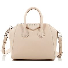 Givenchy Mini Antigona Nude Pink Bag ($1,090) ❤ liked on Polyvore featuring bags, handbags, bolsas, pink handbags, zipper purse, silver purse, mini purse and zipper handbag