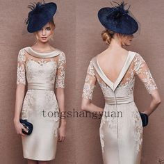 2016 Cocktail Dresses Open Back with Sleeves Champagne Lace Satin Mini Sheath Jewel Neck Mother of the Bride Dress Short Party Evening Gowns Evening Gowns Online, Lace Evening Gowns, Evening Party Gowns, Trendy Dresses, Nice Dresses, Short Dresses, Formal Dresses, Wedding Dresses, Wedding Veil