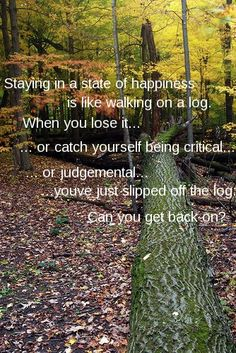 Staying in a state of #happiness is like walking on a log. If you fall off just get back on!
