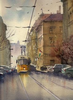 Andy Shore WATERCOLOR Budapest Tram