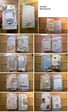 romantic vintage junk mini album journal #MajaDesign #blue #craft