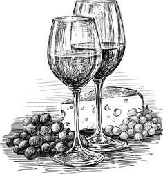 Wine Glasses And Cheese Royalty Free Stock Image – Image: 30409156 – Lisa Finlay – # … - Zeichnung Still Life Sketch, Still Life Drawing, Pencil Art Drawings, Art Drawings Sketches, Animal Sketches, Wine Glass Drawing, Cheese Drawing, Stylo Art, Object Drawing