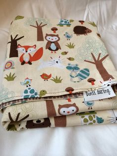 Woodland Forest Animal Baby Blanket Flannel Baby by DwellDarling, $28.00