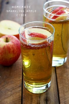 Apple Cider Recipes -Need to try these. Sparkling Apple Juice, Apple Juice Floats especially sound good! Refreshing Drinks, Fun Drinks, Yummy Drinks, Beverages, Yummy Food, Apple Recipes, Fall Recipes, Smoothies, Non Alcoholic Drinks