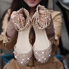 Bling flat wed... Flat Bridal Shoes ...
