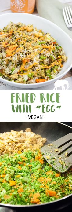 """Did you know you can make delicious Vegan Fried Rice with """"egg"""" but without actually using any eggs? We're using tofu as our egg scramble - it's amazing! Egg Recipes, Raw Food Recipes, Appetizer Recipes, Vegetarian Recipes, Dinner Recipes, Vegan Food, Vegan Vegetarian, Free Recipes, Vegan Fried Rice"""