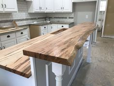 This customer created visual interest on the hightop of his island bar with a Live-edge surface then kept the bottom area with a straight edge. We thought his strategy was very creative! Kitchen Bar Counter, Rustic Kitchen Island, Diy Kitchen, Home Decor Kitchen, Kitchen Interior, Live Edge Countertop, Bar Countertops, Cabin Kitchens, Kitchen Remodel