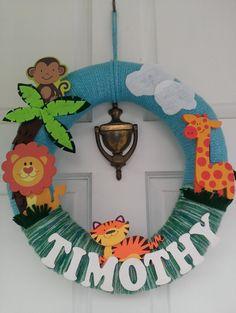 Jungle Wreath Nursery decor name wreath jungle by ADCMDesign