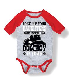 Look what I found on #zulily! Heather & Red 'New Cowboy' Bodysuit - Infant #zulilyfinds