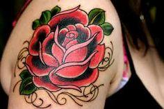 Bilderesultat for old school rose tattoo