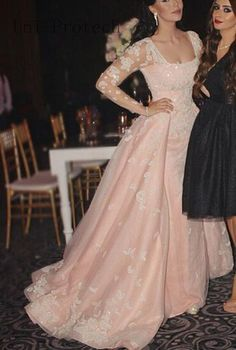 Pink Sheer Sleeve Ball Gown