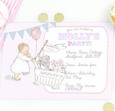 girls first birthday party invitations 'toys' by august & grace…