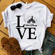 Disney Love Castle Magic Tshirt This t-shirt is Made To Order, one by one printed so we can control the quality. Cute Disney Outfits, Disney World Outfits, Disneyland Outfits, Cute Outfits, Disney Clothes, Disney Vacation Outfits, Cute Disney Shirts, Disney Fashion, Disney Style