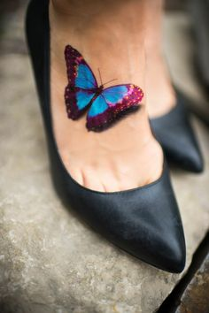 Instep Butterfly Tattoo