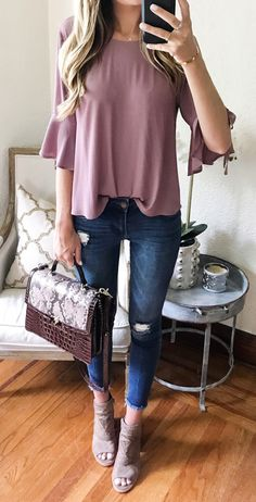#summer #outfits Bell Sleeves + Booties! Switching Out Jeans For Shorts Tonight, But Had To Share This Look That's Currently All On Sale! This Top Is $22, Doesn't Wrinkle, Fits Tts & Comes In 2 Colors  Cute For Date Night Or Work!