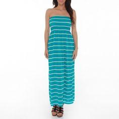 Stripe Strapless Maxi Dress