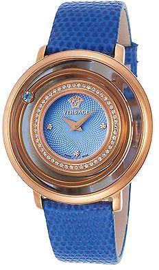 Versace VFH07-0013 Women's Venus Diamonds Blue Genuine Lizard Blue Dial