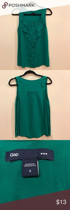 ⚡️price drop⚡️ Green Gap ruffle top - small Very comfortable Gap ruffle tank. Looks great under a blazer. Runs somewhat bigger than a small. In great condition but worn a few times. GAP Tops Tank Tops