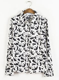 on sale!Vintage Panda print shirt chiffon blouse from Sweetbox Store