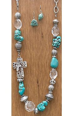 Cattilac Style® Turquoise Stones w/ Beads and Cross Necklace and Earrings Jewelry Set