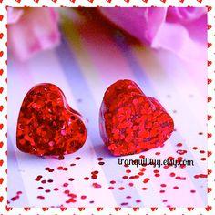 Valentine Heart Earrings Red Glitter Resin Heart by tranquilityy