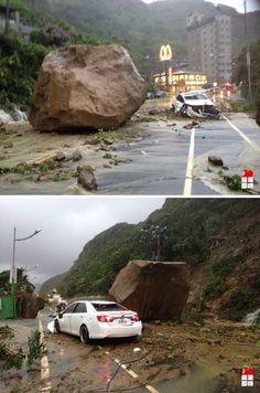 Terrifying Footage of Landsliding in Taiwan from a Dashcam Rock Falls, Dashcam, Taiwan
