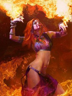 Nuare Studio Concept Art and Illustration - female gypsie sorceress witch warlock sorcerer wizard fire flames redhead armor clothes clothing fashion player character npc | Create your own roleplaying game material w/ RPG Bard: www.rpgbard.com | Writing inspiration for Dungeons and Dragons DND D&D Pathfinder PFRPG Warhammer 40k Star Wars Shadowrun Call of Cthulhu Lord of the Rings LoTR + d20 fantasy science fiction scifi horror design | Not Trusty Sword art: click artwork for source