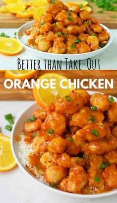 Orange Chicken that is better than take-out. How to make ORANGE CHICKEN at home with a sweet orange sauce. Chinese Orange Chicken that is better than take-out. How to make ORANGE CHICKEN at home with a sweet orange sauce. Orange Chicken Sauce, Chinese Orange Chicken, Healthy Orange Chicken, Crockpot Orange Chicken, Baked Orange Chicken, Sweet Orange Chicken Recipe, Home Made Orange Chicken, 3 Ingredient Orange Chicken Recipe, Chinese Orange Sauce Recipe
