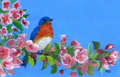 sweet blue bird art | know the song that the bluebird is singing,