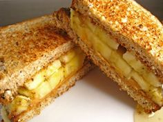 grilled peanut butter, banana and honey sandwich