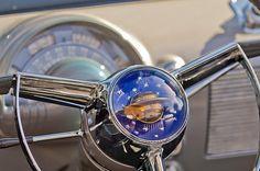1950 Oldsmobile Rocket 88 Steering Wheel - Car Images by Jill Reger Vintage Cars, Antique Cars, Pontiac Chieftain, 50s Cars, Hood Ornaments, Car Images, Automotive Art, Dashboards, Car Parts