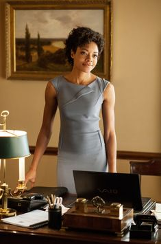 Deconstructed pleat dress  (Miss Moneypenny [Naomie Harris] in Skyfall.)  This look is great. Simple and demands respect. G-