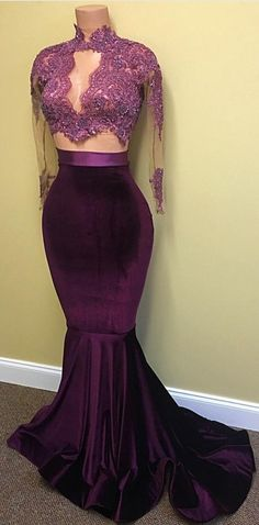 2017 Two-Piece Prom Dresses Grape High Neck Long Sleeves Mermaid Evening Gowns